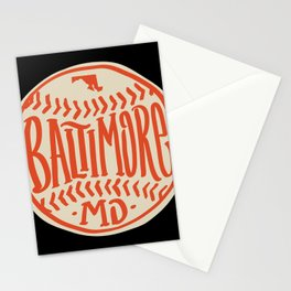 Hand Drawn Baseball for Baltimore with custom Lettering Stationery Cards