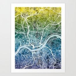 Cincinnati Ohio City Map Art Print