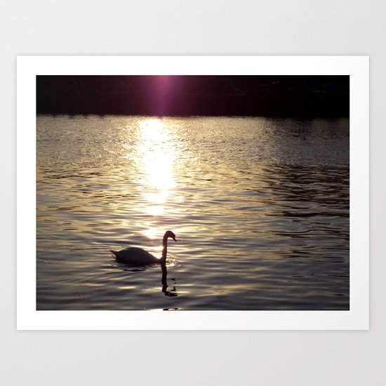 Sunset on the River Itchen Art Print