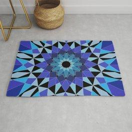 Blue Black Geometric Mandala Rug