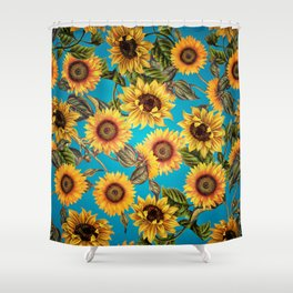 Vintage & Shabby Chic - Sunflowers on Teal Shower Curtain
