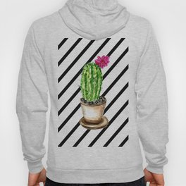 Blooming cacti on striped background Hoody