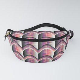 Colored Stripes&Grids with Grey Shadows Fanny Pack