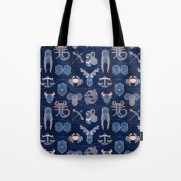 Geometric astrology zodiac signs // navy blue and coral Tote Bag