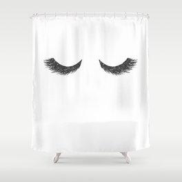 Lashes Black Glitter Mascara Shower Curtain
