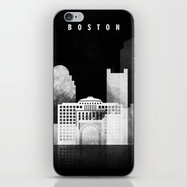 Boston - Black and White Skyline арт work iPhone Skin