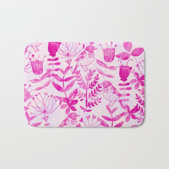 Watercolor Floral & Birds II Bath Mat