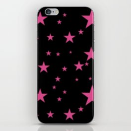 Glowing Pink Stars on Black iPhone Skin