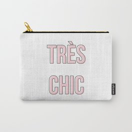 Tres Chic Millennial Pink Typography Carry-All Pouch