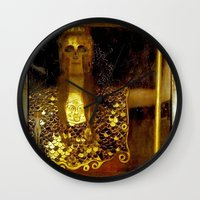 "gustav klimt Wall Clocks featuring ""Pallas Athena"", Gustav Klimt by Vintage Germany"