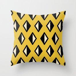 Diamond Pattern Mustard Yellow Throw Pillow