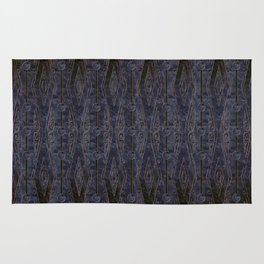 Marbled Navy Blue with Abstract Dark Copper Design Rug