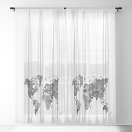 World map in watercolor 13 Sheer Curtain