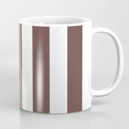 Rose ebony purple - solid color - white vertical lines pattern Coffee Mug