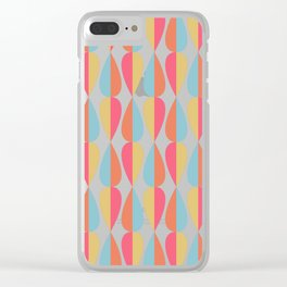 Retro 1970s Vintage Inspired Teardrop Pattern in Turquoise Orange Pink and Golden Yellow Clear iPhone Case