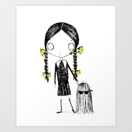 Wednesday Addams Illustrated Art Print