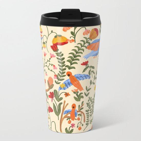 Tropical Garden Pattern Metal Travel Mug