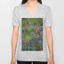 """Claude Monet """"The iris garden at Giverny"""", 1900 Unisex V-Neck"""
