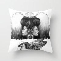 gemini Throw Pillows featuring Gemini by Deborah Panesar Illustration