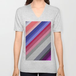 grey blue pink purple stripes Unisex V-Neck