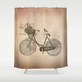 Antique Bicycle Shower Curtain