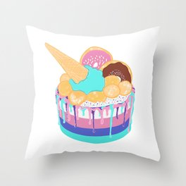 ice cream cake Throw Pillow