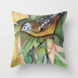 Perky Pardalote Throw Pillow
