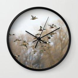 Ducks in Autumn Flight Wall Clock