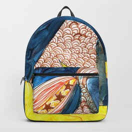gold, Yellow and blue mermaid Backpack