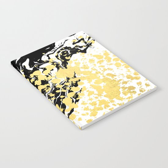 Sukie - abstract gold black and white foil glitter shiny sparkle hipster painting free spirit cosmic Notebook