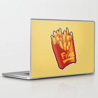 french fries Laptop & iPad Skins featuring Pixel Fries by TheSkywaker