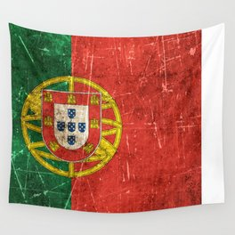 Vintage Aged and Scratched Portuguese Flag Wall Tapestry