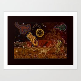 Desert Heat - Australian Aboriginal Art Theme Art Print