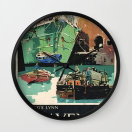 Havens and Harbours Vintage Travel Poster Wall Clock