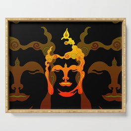 Illustration Buddha Head orange black design Serving Tray