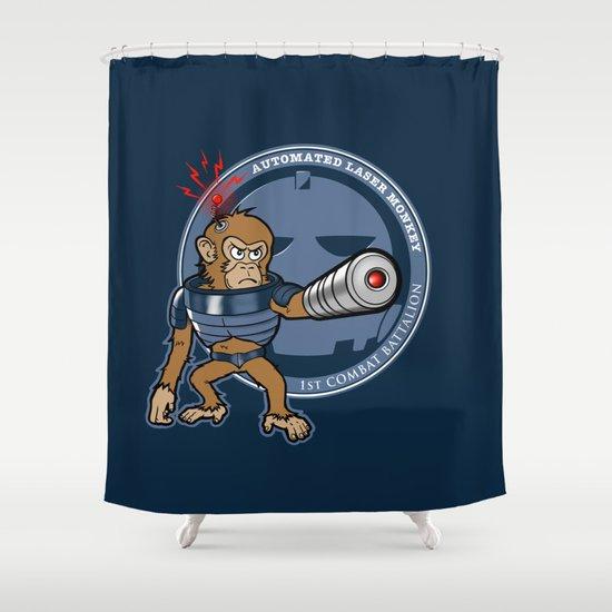 Automated Laser Monkey Shower Curtain