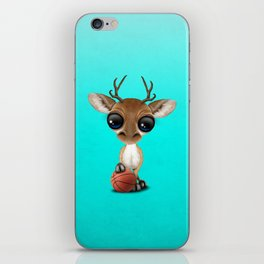 Cute Baby Deer Playing With Basketball iPhone Skin