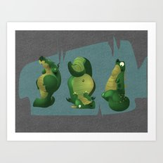 3 dragons in a cave Art Print