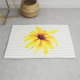 Watercolor Flower on Stripes Rug