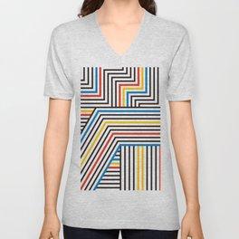 Mondrian Color Dazzle Stripes Pattern Unisex V-Neck
