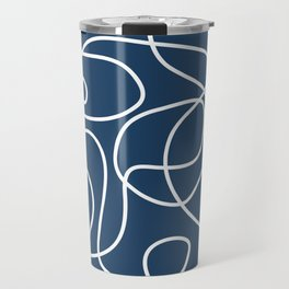 Doodle Line Art | White Lines on Petrol Blue Travel Mug