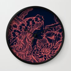 Woman with an Orchid Crown - navy and pink Wall Clock