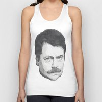 swanson Tank Tops featuring Ron Swanson by Lina