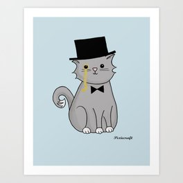 Monocle Kitty Illustration in Blue Art Print