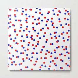 Red and Blue Polkadots Metal Print