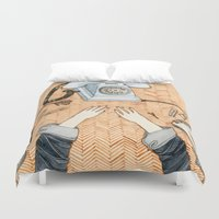 notebook Duvet Covers featuring Waiting for a call by Yuliya