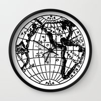 globe Wall Clocks featuring Globe by Gallymogger Print