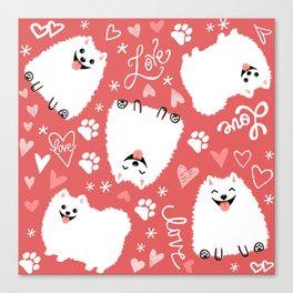 White Pomeranians Pattern Canvas Print