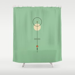 Mid Geo 03 // Mid Century Modern Minimalist Illustration Shower Curtain