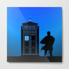 Tardis With The Third Doctor Metal Print